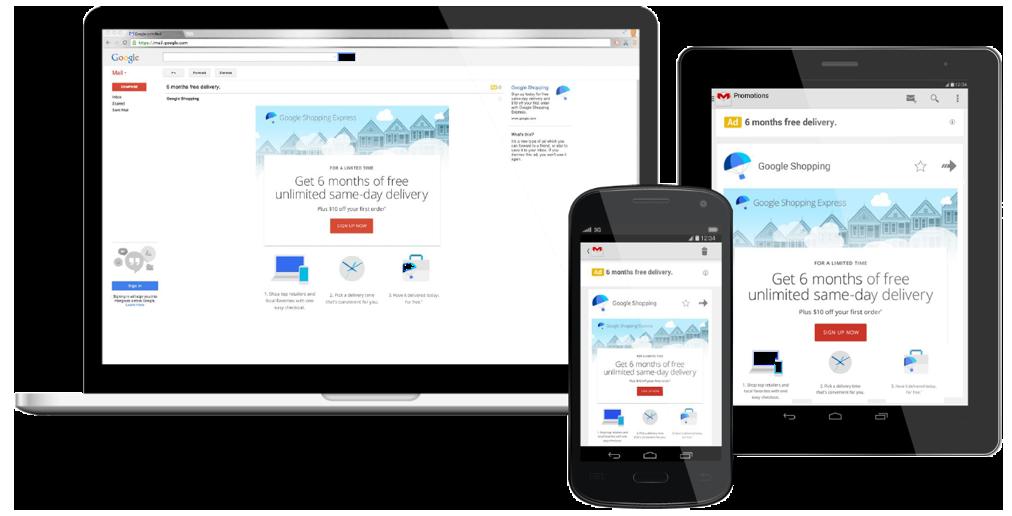 Gmail Sponsored Promotions atrašanās vietas Gmail epastā